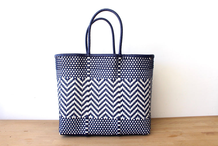 Blue & White Mexican Woven Tote Bag