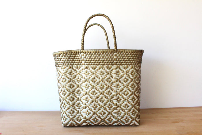 Gold & Beige Mexican Woven Tote Bag