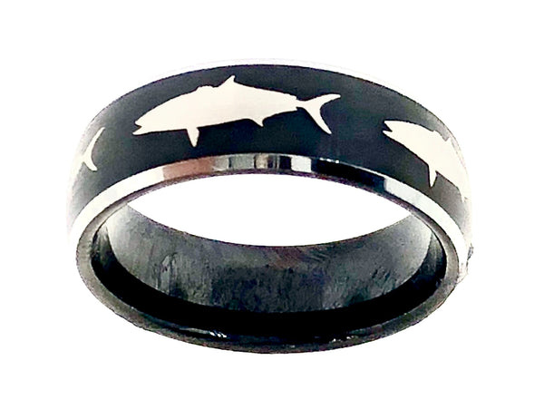 8MM Black and Silver Tungsten Domed Yellowtail Ring