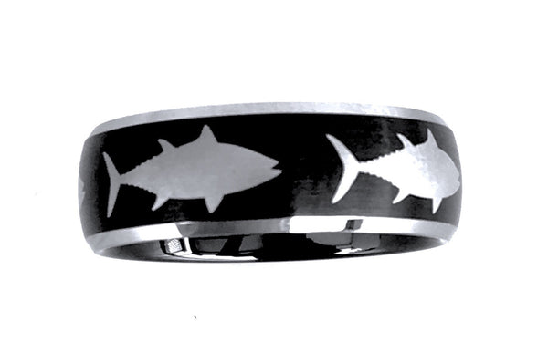 6MM Black and Silver Tungsten Tuna Ring