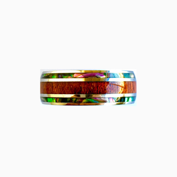 Hawaiian Koa Wood and Abalone Stainless Steel Ring