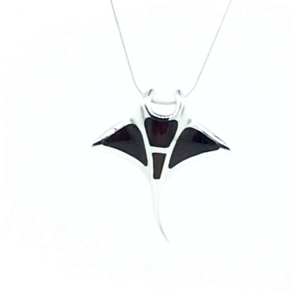 Dark Cocobolo wood and Sterling silver manta ray pendant