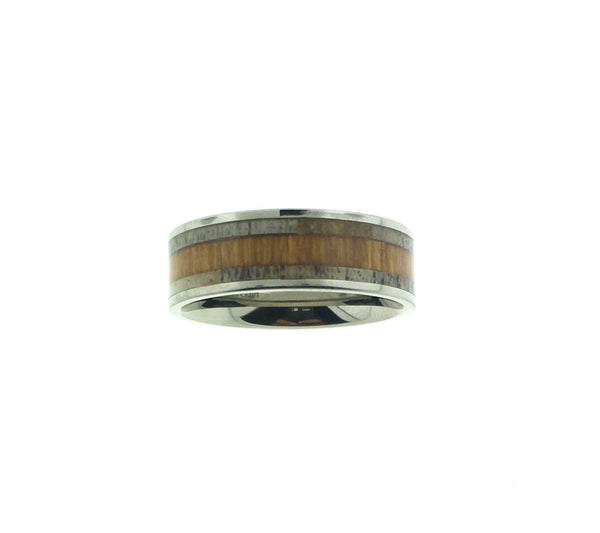 Deer Antler and Koa Wood Inlayed Titanium Rings