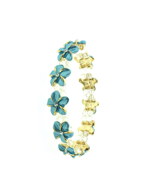 Gold plated plated plumeria bracelet