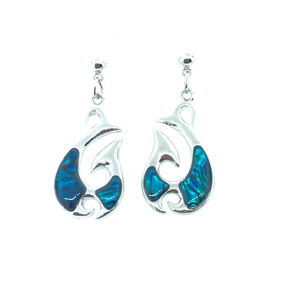 Abalone Shell Fish Hook Earrings