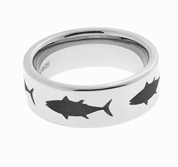 8MM Tungsten Engraved Tuna Ring