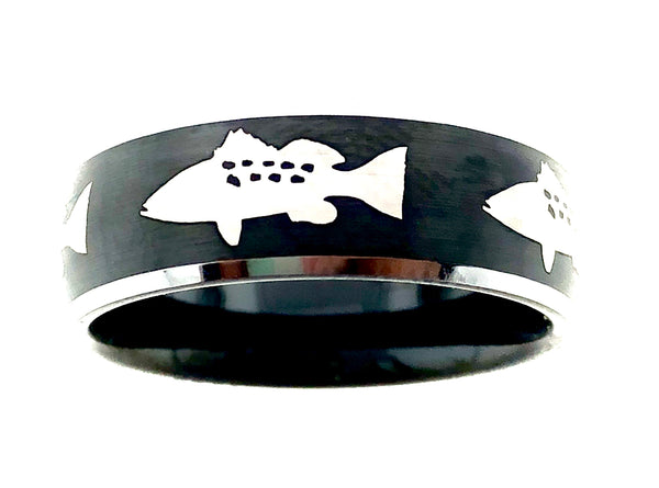 8MM Black and Silver Tungsten Calico Bass Ring