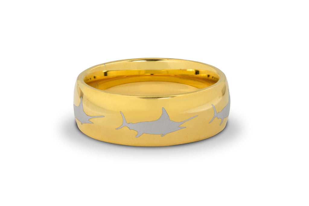 8MM Gold Marlin Tungsten Ring