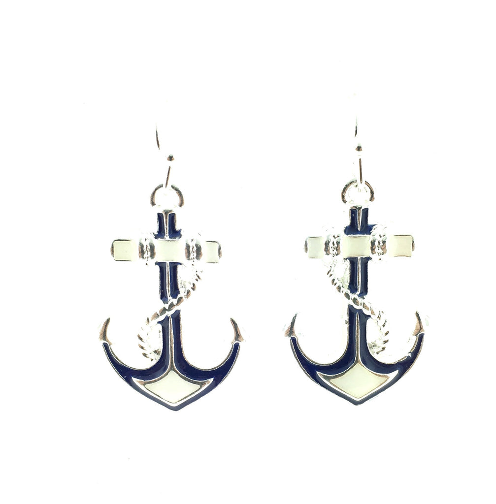 Blue and white anchor earrings