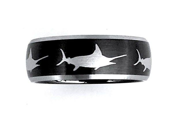 8MM Black and Silver Tungsten Marlin Ring