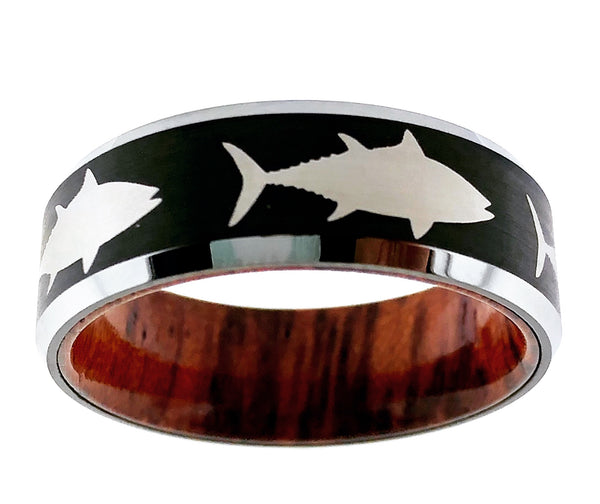 8MM Black and Silver Tungsten Tuna Ring With Wood