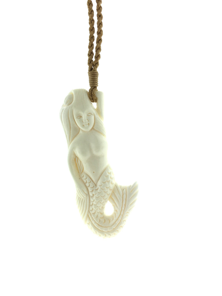 Hawaiian Bone Mermaid Necklace Blue Wave