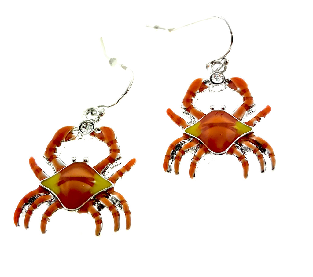 Enameled Crab Earrings