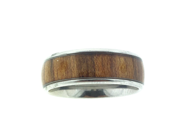 Hawaiian Koa wood and stainless steel ring with wide wood inlay