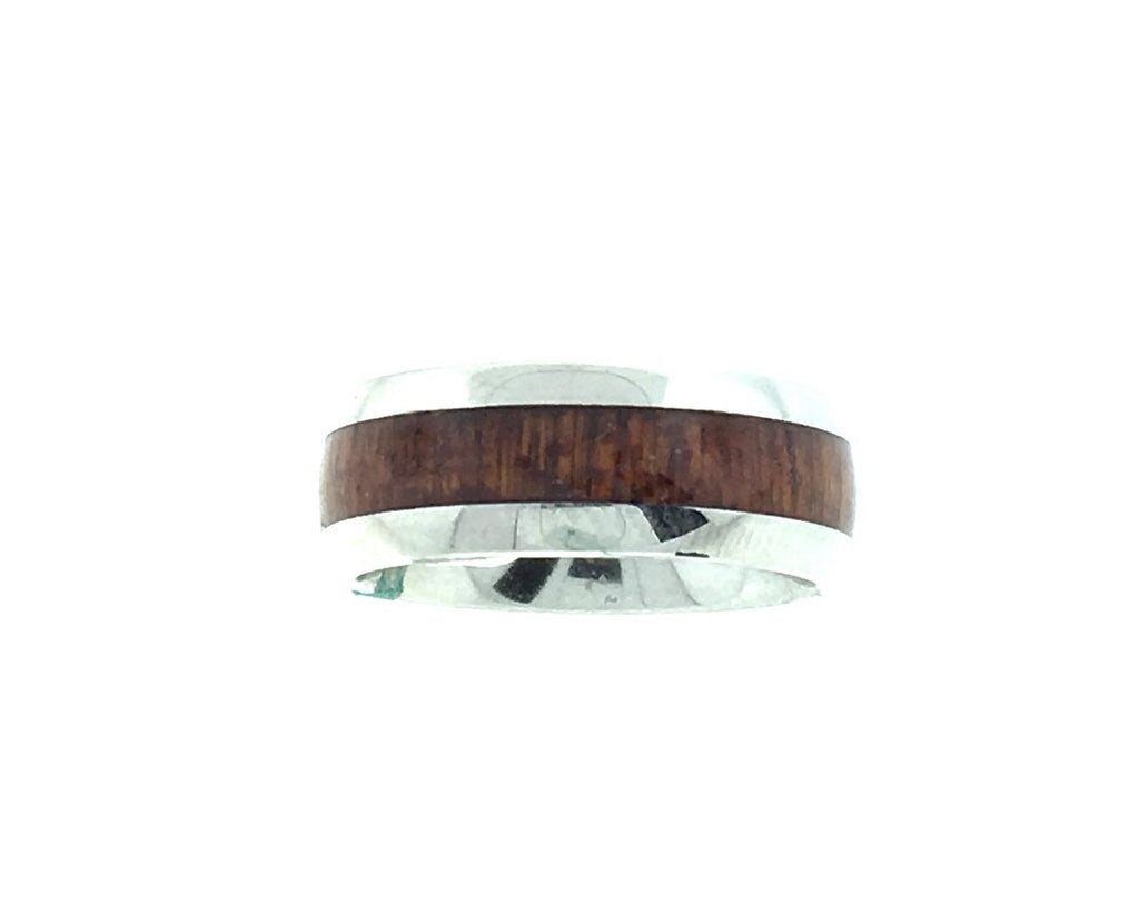 8MM Hawaiian Koa wood and stainless steel ring, narrow wood style