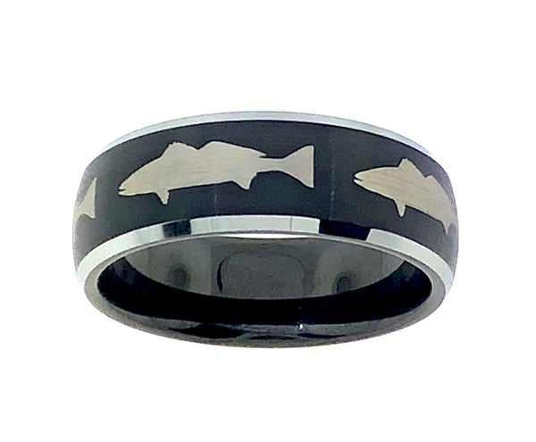 8MM Black and Silver Tungsten White Sea Bass Ring