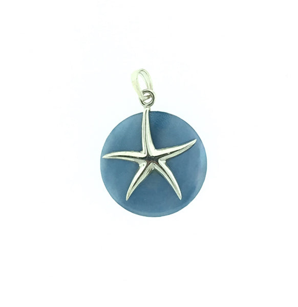 Blue mother of pearl and silver star fish pendant