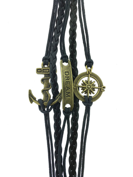 Anchor, dream, and compass bracelet