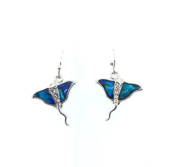 Abalone Shell Manta Ray Earrings