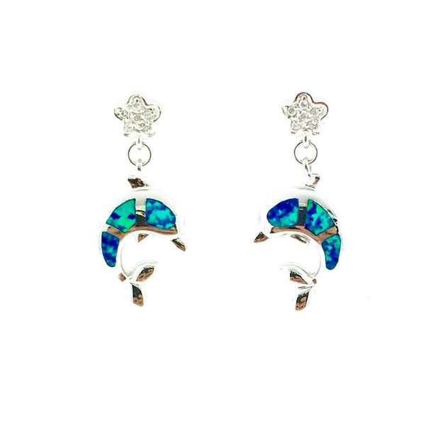 Silver and opal dolphin earrings