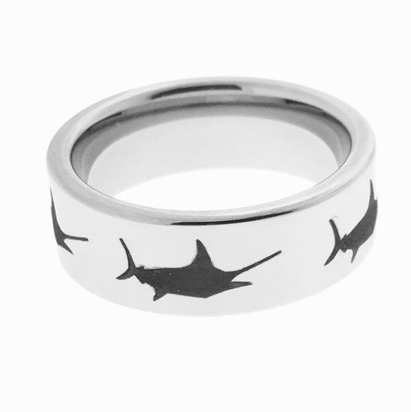 8MM Tungsten Engraved Marlin Ring