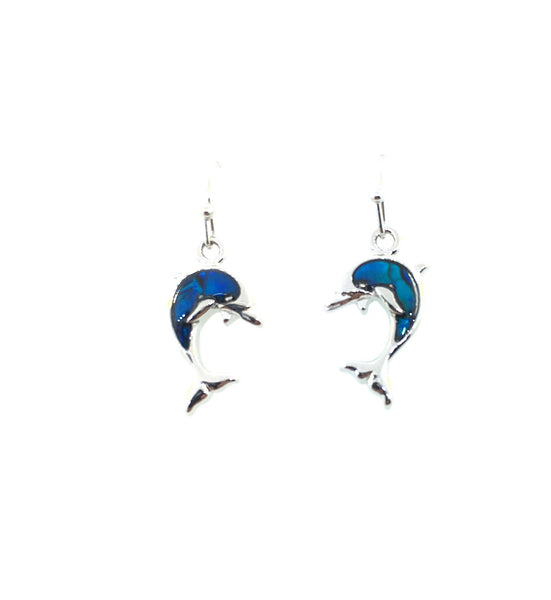 Abalone Shell Dolphin Dangle Earrings