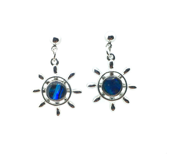 Abalone Shell Ship's Wheel Earrings