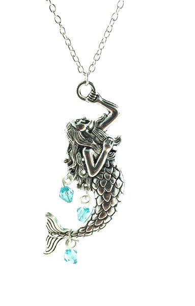 Mermaid necklace with aqua beads