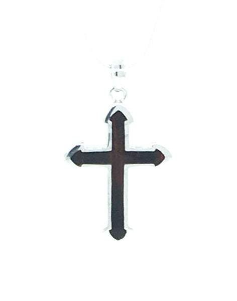 Large dark Cocobolo wood and sterling silver cross pendant