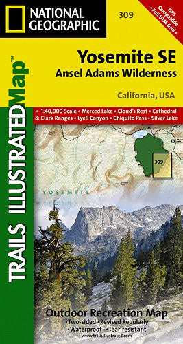 TI Map #309- Yosemite Southeast- Ansel Adams Wilderness