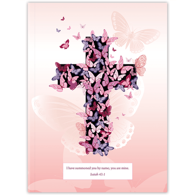Pink Butterfly Cross (Planner) Planner Paper Sunday No Hardback (adds $5)