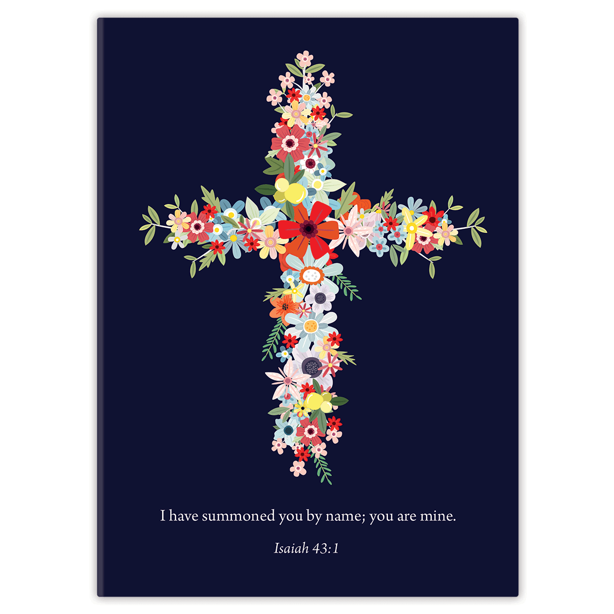 Navy Floral Cross
