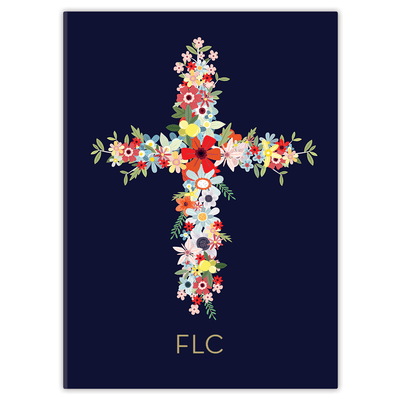 Navy Floral Cross Journal Paper Sunday