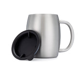 Stainless Steel 14 oz. Double Walled Insulated Coffee Beer Tea Mugs with Lids - Set of 2
