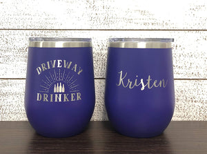 Personalized Driveway Drinker Wine Tumbler with Lid
