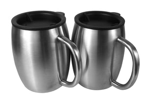 Set of 2 Lids for 14 oz Stainless Steel Mugs - Double Walled Stainless Steel Coffee Mugs