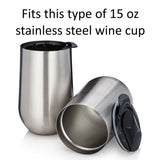 Replacement Lids for 15 oz Stainless Steel Wine Glasses and Cups - Set of 2 - Grey - Fits Avito, DuVino, Brovino, and Kenley - Spill Resistant