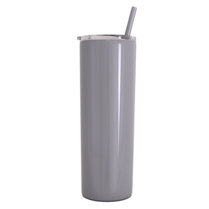 20 oz Stainless Steel Skinny Tumbler with Personalized Swirl Name Decal in Opal or Chrome Vinyl