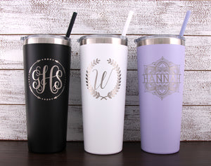 Personalized 22 oz Stainless Steel Vacuum Insulated Tumbler with Monogram