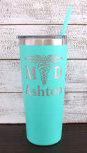 Load image into Gallery viewer, Personalized MD Design on 22 oz Tumbler - Laser Engraved