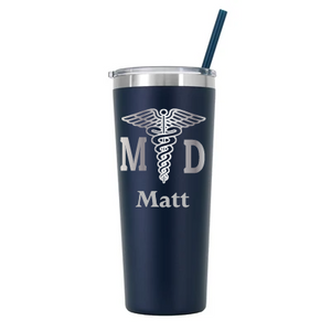 Personalized MD Design on 22 oz Tumbler - Laser Engraved