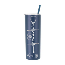 Load image into Gallery viewer, Personalized Nurse Heartbeat Design on 20 oz Tumbler - Laser Engraved