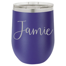 Load image into Gallery viewer, Personalized Laser Engraved 12 oz - Vacuum Insulated- Wine Tumbler with Name