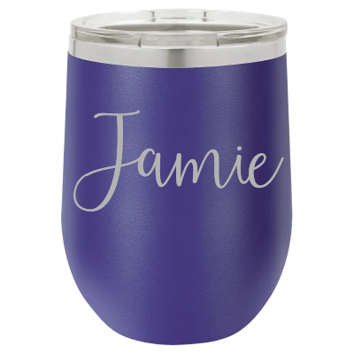 Personalized Laser Engraved 12 oz - Vacuum Insulated- Wine Tumbler with Name