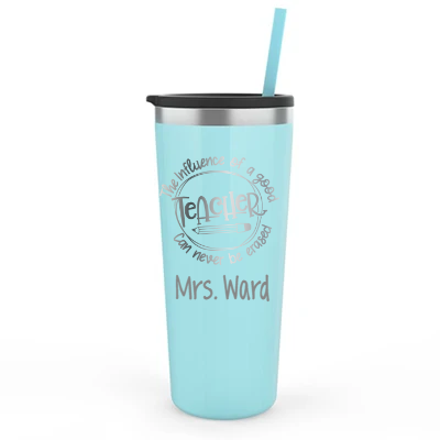 Personalized 22 oz Teacher Influence Tumbler - Laser Engraved