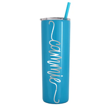 Load image into Gallery viewer, 20 oz Stainless Steel Skinny Tumbler with Personalized Swirl Name Decal in Opal or Chrome Vinyl
