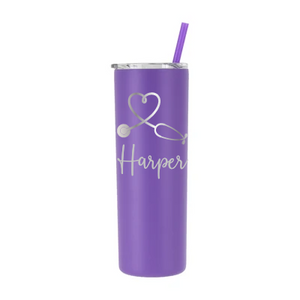 Personalized Nurse Heartbeat Design on 20 oz Tumbler - Laser Engraved