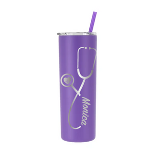 Personalized Nurse Stethoscope Design on 20 oz Tumbler - Laser Engraved