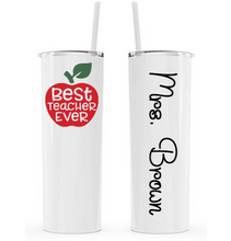 Load image into Gallery viewer, Personalized Teacher 20 oz Tumbler - Vinyl Decal