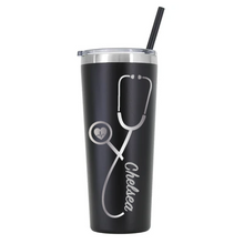 Load image into Gallery viewer, Personalized Nurse Stethoscope Design on 20 oz Tumbler - Laser Engraved